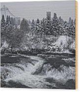 Riverfront Park Winter Storm - Spokane Washington Wood Print by Daniel Hagerman