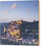 Rocamadour Midi-pyrenees France Twilight Wood Print by Colin and Linda McKie