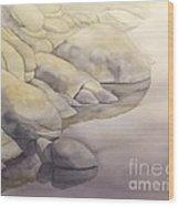Rock Meets Water Wood Print by Robert Hooper