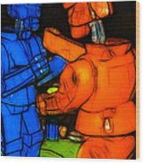 Rockem Sockem Robots - Color Sketch Style - Version 3 Wood Print by Wingsdomain Art and Photography