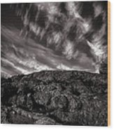 Rocks Clouds Water Wood Print by Bob Orsillo