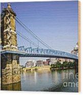 Roebling Bridge In Cincinnati Ohio Wood Print by Paul Velgos