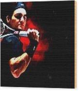 Roger Federer Tennis Wood Print by Lanjee Chee