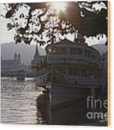 Romantic Afternoon Scenic In Lucerne Wood Print by George Oze
