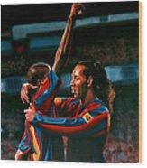 Ronaldinho And Eto'o Wood Print by Paul Meijering