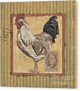 Rooster And Stripes Wood Print by Debbie DeWitt