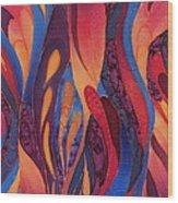 Rose And Blue Silk Design 2 Wood Print by Sharon Freeman