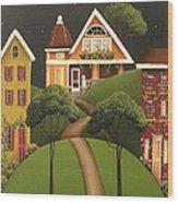 Rose Hill Lane Wood Print by Catherine Holman