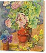 Roses And Pansies Wood Print by Julia Rowntree