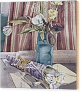 Roses Tulips And Striped Curtains Wood Print by Julia Rowntree