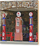 Route 66 - Cool Springs Camp Az Wood Print by Christine Till