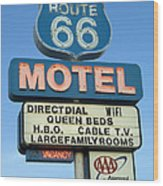 Route 66 Motel Sign 3 Wood Print by Bob Christopher