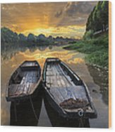 Rowboats On The River Wood Print by Debra and Dave Vanderlaan