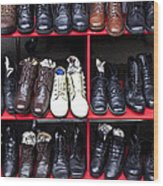 Rows Of Shoes Wood Print by Garry Gay