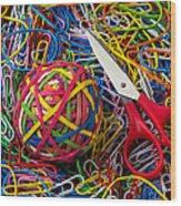 Rubber Band Ball With Sccisors Wood Print by Garry Gay