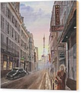 Rue Saint Dominique Sunset Through Eiffel Tower   Wood Print by Irina Sztukowski