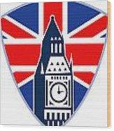 Runner Sprinter Start British Flag Shield Wood Print by Aloysius Patrimonio