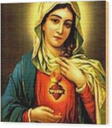 Sacred Heart Wood Print by Unknown