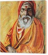 Sadhu Wood Print by Janet Pancho Gupta
