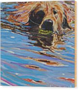 Sadie Has A Ball Wood Print by Molly Poole
