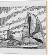 Holland Harbor Lighthouse And Spinaker Flying Sailboat Wood Print by Jack Pumphrey