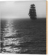 Sailing Out Of The Fog - Black And White Wood Print by Jason Politte
