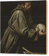 Saint Francis In Meditation Wood Print by Michelangelo Merisi da Caravaggio