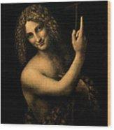 Saint John The Baptist Wood Print by Leonardo da Vinci