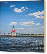 Saint Joseph Lighthouse And Pier Picture Wood Print by Paul Velgos