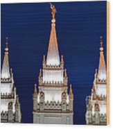 Salt Lake Lds Mormon Temple At Night Wood Print by Gary Whitton