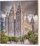 Salt Lake Temple Wood Print by Niels Nielsen
