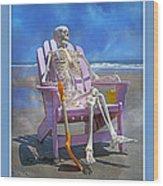 Sam Enjoys The Beach -- Again Wood Print by Betsy Knapp