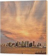 San Diego Cloud Burst Wood Print by Peter Tellone