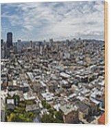 San Francisco Daytime Panoramic Wood Print by Adam Romanowicz