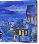 San Francisco Night Trams Wood Print by Yury Malkov
