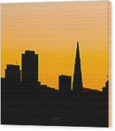 San Francisco Silhouette Wood Print by Bill Gallagher