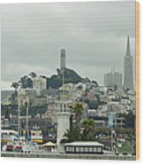 San Francisco View From Fishermans Wharf Wood Print by Suzanne Gaff
