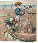 Sand Castles At The Beach Wood Print by Unknown