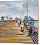 Santa Barbara Pier Wood Print by Filip Mihail