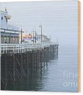 Santa Cruz Pier In The Fog Wood Print by Artist and Photographer Laura Wrede
