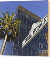 Santa Monica Blvd Sign In Beverly Hills California Wood Print by Paul Velgos