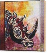 Save The Rhino Wood Print by Sylvie Heasman