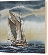 Schooner Wood Print by James Williamson