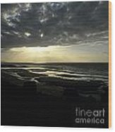 Sea And Stormy Sky Wood Print by Bernard Jaubert