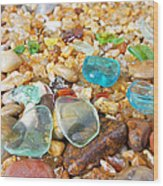 Seaglass Coastal Beach Rock Garden Agates Wood Print by Baslee Troutman