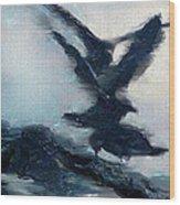 Seagull Grace Wood Print by Betty LaRue