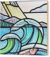 Seascape Wood Print by Gilroy Stained Glass