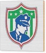 Security Guard Police Officer Shield Wood Print by Aloysius Patrimonio