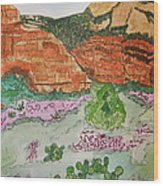 Sedona Mountain With Pears And Clover Wood Print by Marcia Weller-Wenbert