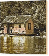 Sepia Floating House Wood Print by Robert Bales